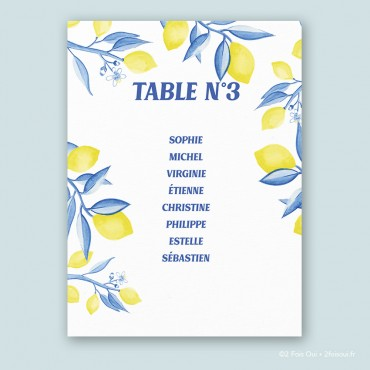 Plan de table citrons