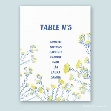 Plan de table immortelle