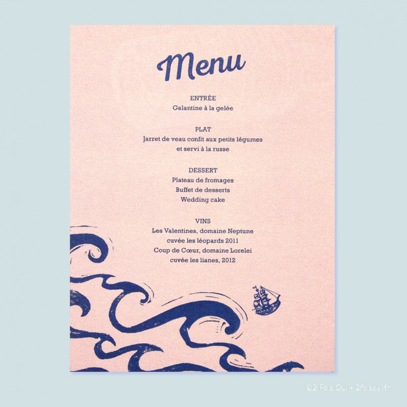 Menu la grande vague